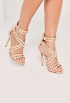 Missguided Nude Cross Strap Patent Heeled Sandals