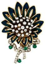 18K Enamel, Diamond & Emerald Brooch
