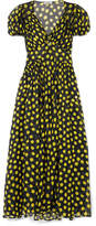 ATTICO Shirred Polka-dot Silk-georgette Maxi Dress