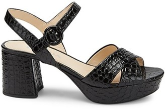Prada Croc-Embossed Leather Platform Sandals