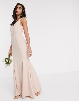 ASOS DESIGN Bridesmaid button back maxi dress with pleated bodice detail