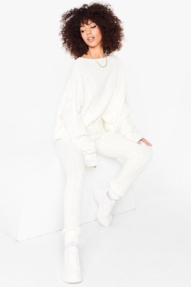 Nasty Gal Womens Knits Time for Change Jumper and Jogger Set - White - S/M