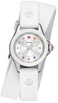 Michele Cape Mini Topaz Watch w/ Double-Wrap Silicone Strap, White/Multi