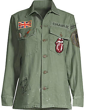 MadeWorn Women's Rolling Stone Sequin Patch Army Jacket
