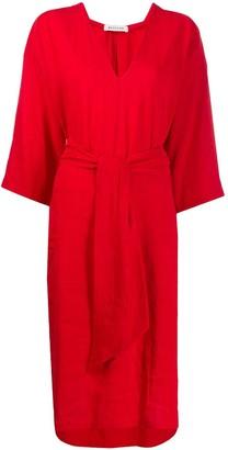 Masscob Tie Waist Shirt Dress