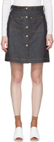 Carven Indigo Denim Button Miniskirt