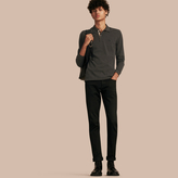 Burberry Check Placket Long Sleeve Polo Shirt