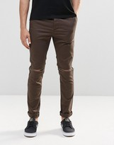 Asos Skinny Cotton Pants With Knee Rip In Khaki
