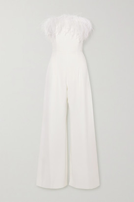 16Arlington Taree Strapless Feather-trimmed Crepe Jumpsuit - White