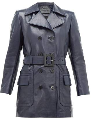 Givenchy Double-breasted Belted Leather Coat - Womens - Navy