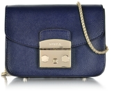 Furla Metropolis Mini Navy Blue Leather Crossbody Bag