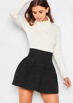 Missy Empire Candice Black Structured Jacquard Mini Skater Skirt