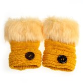 Towallmark Women Warm Faux Rabbit Fur Wrist Fingerless Gloves