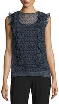 Elie Tahari Minny Cap-Sleeve Printed Silk Chiffon Blouse, Black