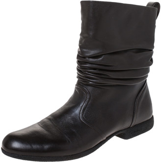 Loriblu Dark Brown Leather Pleated Ankle Boots Size 39
