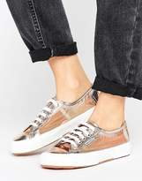 Superga 2750 Mesh Metallic Trainers In Rose Gold