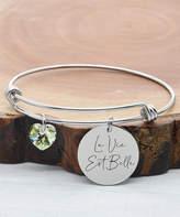 Swarovski Pink Box Women's Bracelets Silver - Stainless Steel 'La Vie Est Belle' Charm Bracelet With Crystals