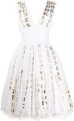 Moschino Goddess Print Flared Tulle Dress