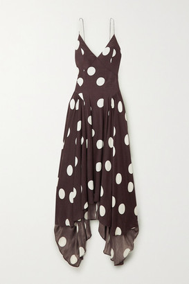 TOVE Maren Open-back Asymmetric Polka-dot Silk-crepon Maxi Dress - Brown