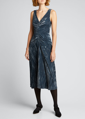 Vince Ruched Velvet Paneled V-Neck Dress