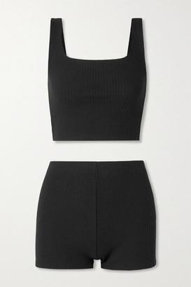 Reformation Mathilde Ribbed-knit Tank And Shorts Set - Black