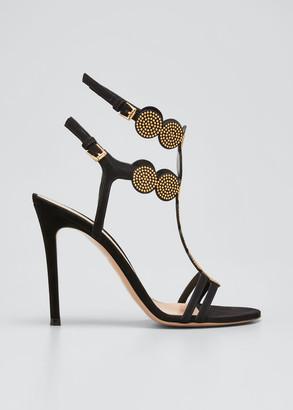 Gianvito Rossi 105mm Studded Babylon Medallion Stiletto-Heel Sandals