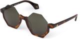Vivienne Westwood Tortoiseshell Half Frame Hexagon Sunglasses 941S3BRG