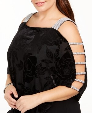 MSK Plus Size Burnout Velvet Overlay Top