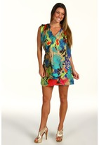 T-Bags Tbags Los Angeles - Drape Front Dress (CA2 Print) - Apparel