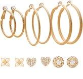 Charlotte Russe Hoop & Embellished Stud Earrings Set