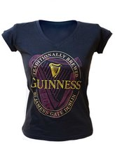 Guinness Ladies V-Neck T-Shirt With Pink Harp Design