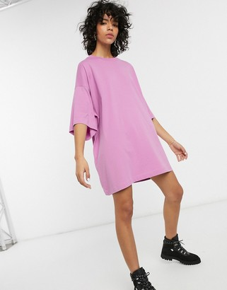 Weekday oversized t-shirt dress in violet