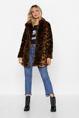 Nasty Gal Womens Faux Fur-get the Past Leopard Coat - Brown - S