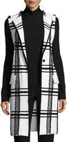 St. John Fil Coupe Plaid Jacquard Knit Long Vest