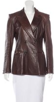 Donna Karan Leather Double-Breasted Blazer