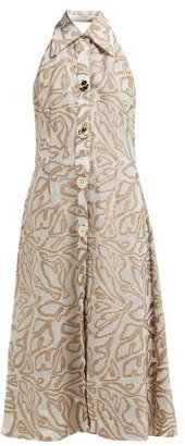 Cult Gaia Alessia Abstract-jacquard Midi Dress - Womens - Beige Print