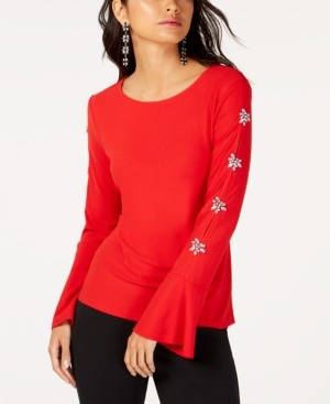 INC International Concepts Inc Embellished-Sleeve Top, Created for Macy's