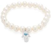 Rina Limor Fine Jewelry Pearl & 0.20 Total Ct. Diamond Hamsa Charm Bracelet