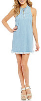 GUESS Stella Frayed Hem Zip-Front Chambray Sheath Dress
