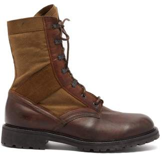 Belstaff Trooper Leather And Canvas Boots - Mens - Brown Multi