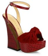 Charlotte Olympia Vreeland Knotted Suede & Croc-Embossed Leather Platform Sandals