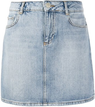 Ganni bleached denim mini skirt