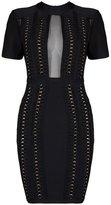 UONBOX Women's Short Sleeves Sheer Mesh Panels Bandage Dress with Hardwear Adorned (L, )