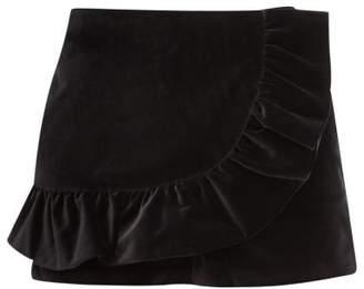 RED Valentino Ruffled Cotton-blend Velvet Skort - Womens - Black