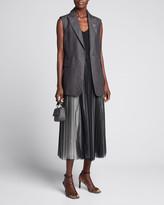 Brunello Cucinelli Sleeveless Lightweight Linen Blazer Vest