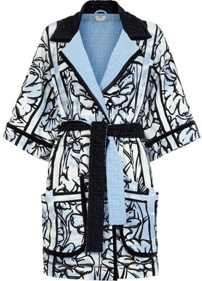 Fendi x Joshua Vides floral intarsia belted cover-up