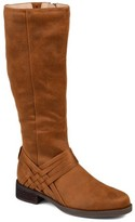 Brinley Co. Womens Wide Calf Weave Detail Riding Boot