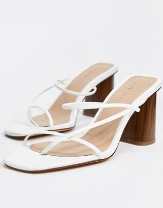 NA-KD fine strappy block heel sandals in off white