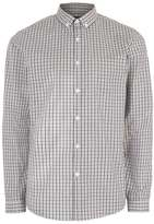 Topman Grey and Stone Gingham Button Down Dress Shirt