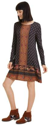 Desigual Camille Flared Dress in Scarf Paisley Print with Long Sleeves